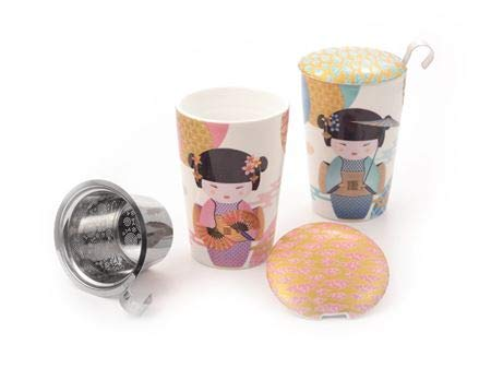 Teaeve® Kräuterteetasse New Little Geisha doppelwandiges Porzellan mit Goldauflage, 3-TLG. Mit Edelstahlsieb, im attraktiven Geschenkkarton 2-Fach Sortiert, 0,35 l