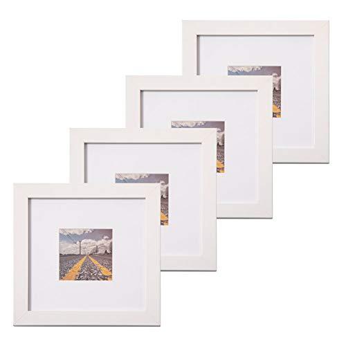 Muzilife Marco de fotos blanco de 20 x 20 cm, 4 unidades, marco de fotos de perfil plano para fotos de 10 x 10 cm, con alfombrilla o 20 x 20 cm, sin alfombrill