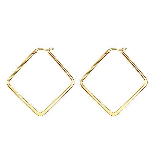JewelryWe Schmuck Damen Ohrringe Edelstahl Poliert große Quadrat Viereck Geometrie Hoop Creolen Ohrstecker Gold 40mm