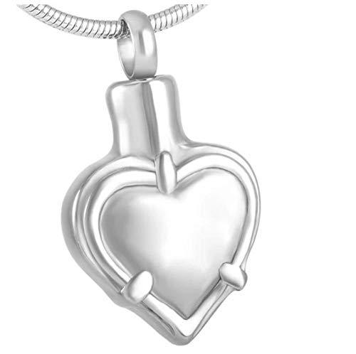 Wxcvz Collar para Cenizas Never Fade 316L Collar con Colgante De Cremación De Urna Conmemorativa De Corazón En Blanco De Acero Inoxidable para Cenizas De Mascotas, Letra De Grabado Gratis