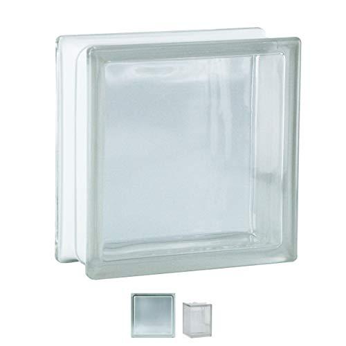 Fuchs Design 6 Glassteine Stück BM Glassteine Vollsicht SUPER White Glasstein glänzend 19x19x8 cm
