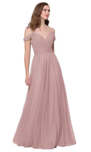 HWPRHEI Elegant V-Neck A Line Bridesmaid Dresses Long for Women Off Shoulder Chiffon Formal Evening Ball Gown (Dusty Rose-16)