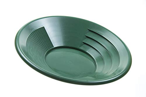 """SE 14"""" Green Plastic Gold Pan with Two Types of Riffles - GP1014G14"""