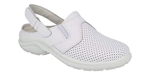 Zuecos de Trabajo Extra cómodos, Hombre y Mujer LUISETTI Zapato Zueco Línea Blanca 0036Menorca CR Talla 38 Color Blanco