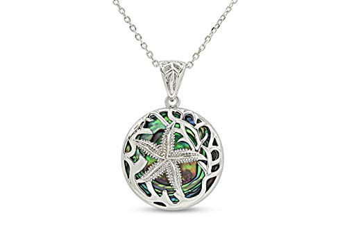 AFFY 14k White Gold Over Sterling Silver Natural Abalone Shell Starfish Under The Sea Pendant Necklace Jewelry Gift
