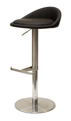 Tenzo 3345-824 Chill - Designer barkruk, leerlook, roestvrij stalen onderstel, in hoogte verstelbaar, 65-90 x 45 x 43 cm, zwart