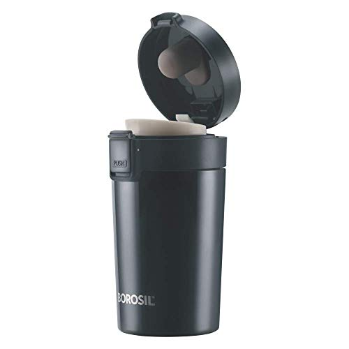 Borosil - vacuum insulated Hydra Coffeemate stainless Steel travel mug - spill proof - hot and cold_BT300BLK110_300ml