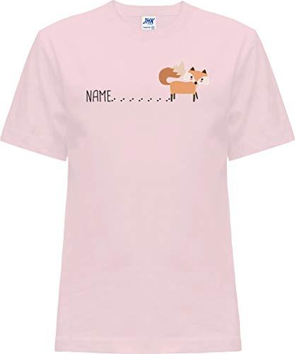 Kleckerliese Nicki T-shirt à manches courtes pour bébé et fille avec inscription en allemand « Tierfuchs mit Spur Name Fox » - Rose - 2 ans