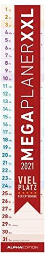 Megaplaner XXL 2021 - Streifen-Kalender 17,5x98 cm - mit Ferienterminen - viel Platz für Notizen - Wandplaner - Küchenkalender - Alpha Edition
