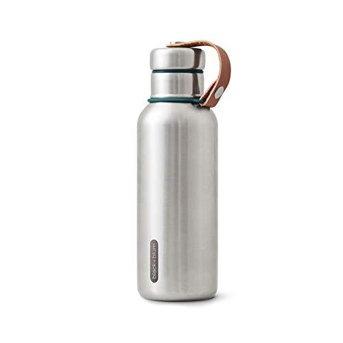 Black + Blum Élégante bouteille d'eau isotherme en acier inoxydable sans BPA pour boissons chaudes ou froides, Acier inoxydable Silicone Cuir synthétique, bleu océan, Small