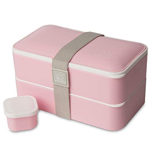 Umami® ⭐ Lunch Box Premium - Inclus : 1 Pot À Sauce & 3 Couverts - Boîte Bento Japonaise Hermétique 2 Étages - Repas À La Maison/Travail - Micro-Ondes & Lave-Vaisselle - sans BPA - Marque Française