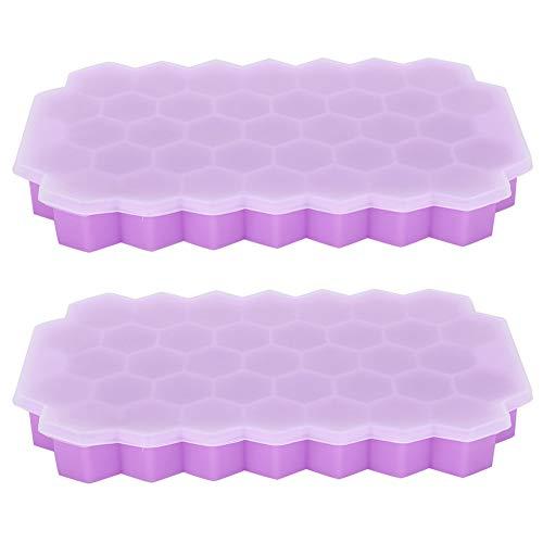 2Pcs Moule à Glaçons en Silicone pour Bac à Glace 37 Grilles de Qualité Alimentaire Moule à Glace en Forme de Nid d'abeille avec Couvercle Ustensiles de Cuisine pour Réfrigérateur