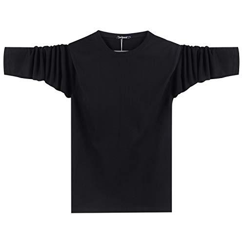 Camisa Cultural de Manga Larga de algodón Camiseta de Hombre de Cuello Redondo Camiseta Casual de Hombre