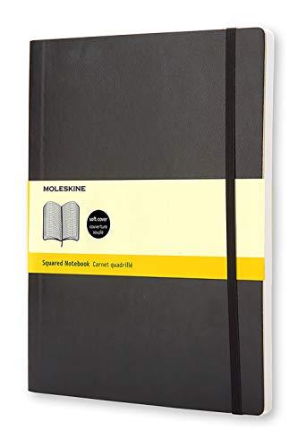 Moleskine Notebook Classic Pagina a Quadretti, Taccuino Copertina Morbida e Chiusura ad Elastico, Colore Nero, Dimensione Extra Large 19 x 25 cm, 192 Pagine