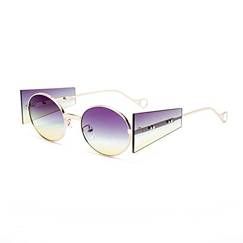 Vintage Steampunk Gafas de Sol Mujeres Hombres Hombres Lujo Oval Oval Redondo Glases Retro Punk Gafas Fashion Eyewear Shades UV400 (Color : 1, Size : F)