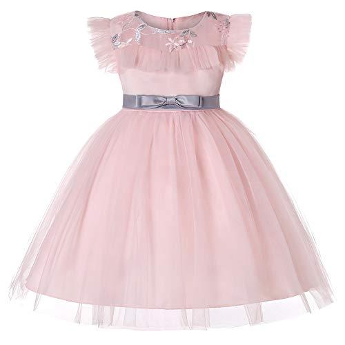 E-girl Vestido de tul para niña con flores C837, rosa claro, 140