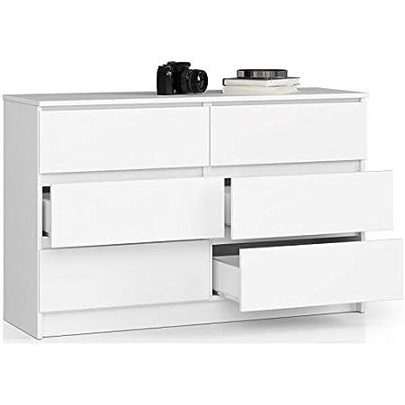 ADGO K120 Commode moderne avec 6 tiroirs L 120 x l 40 x H 77 cm universelle pour couloir, salon, lobby finition mate (livraison en 2 paquets) (Blanc)