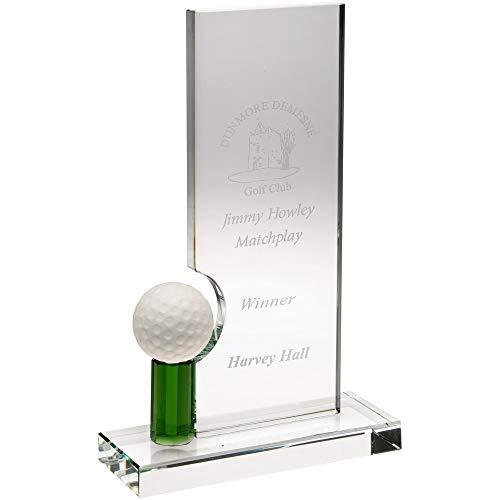 Womack Graphics JB5003A Glas-Rechteck mit Golfball (10 mm dick) – 20,3 cm mit Geschenkbox und gratis Glasätzung