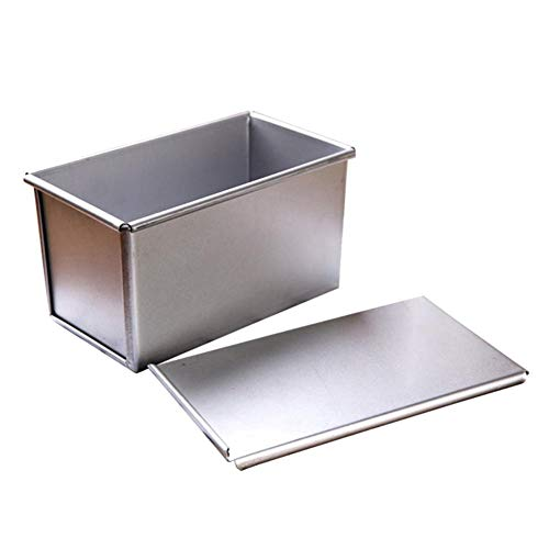 GYFHMY Toast Mold, Aluminum Alloy Non-Stick Rectangular Flat Toaster Box, Thick Silver With Lid, 8.2x4.7x4.3 Inches, used in Home Kitchen Pastry Shops