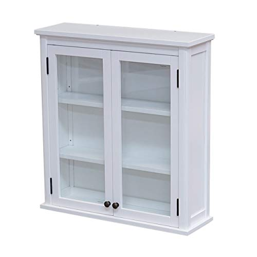 """Bolton Furniture Dorset 27"""" W x 29"""" H Wall Mounted Bath Storage Cabinet with Glass Cabinet Doors"""
