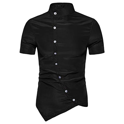 JPDD Summer Men's Short Sleeve Asymmetric Blouse Top Young Fashion Slanted Single Breasted Stand-Up Collar Shirt Tops Slim Fit Tops Casual Blouses Summer New Gentleman Short Sleeve Shirt Top