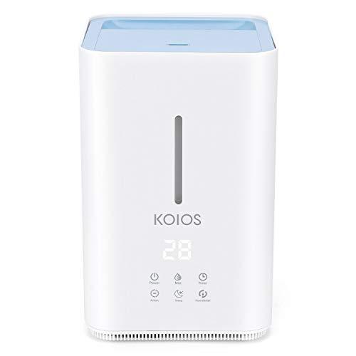 KOIOS Ultraschall 4L Luftbefeuchter, Open Water Tank, Top Fill Wasser, 3 Einstellbare Nebel Ebenen, Schlaf-Modus, Whisper-Quiet, Echtzeit-Erkennung von Luftfeuchtigkeit für Baby, Zuhause und Office