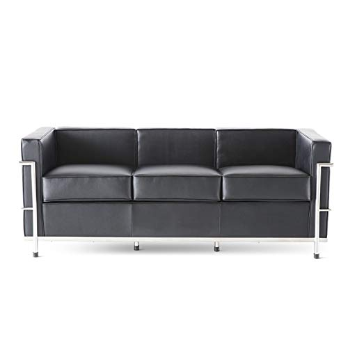 DFFGHKS 3-Seater Sofa for Study, Relaxation Area, Family Room or Apartment, Leather Sofa