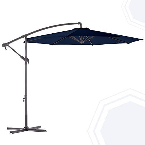 BLUU 10 FT Patio Offset Umbrella Outdoor Cantilever Umbrella Hanging Umbrellas, Fade Resistant & Waterproof Solution-Dyed Canopy Fabric with Infinite Tilt, Crank & Cross Base (Navy Blue)