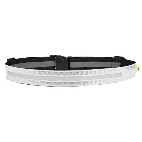 MAGT Reflektierender Gürtel, Elastischer LED-Gürtel Nachtleuchtender Sportgürtel Radfahren Reflektierender Gürtel für Nachtlauf Schwarz