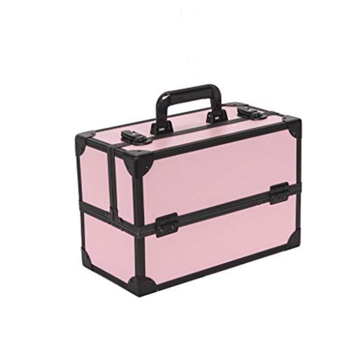 Sac cosmétique Boîte de Rangement Portable de Grande capacité Boîte de Rangement cosmétique spéciale Portable Simple Multicouche (Color : Pink, Taille : 36 * 18 * 24cm)