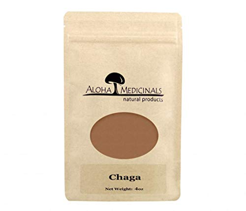 Aloha Medicinals- Pure Chaga - Inonotus Obliquus - Organic and Wild Crafted Mushrooms – Immune System Support – Detoxifying, Anti-Inflammatory – Blood Sugar, Cholesterol Control - 4oz Bag (Powder)