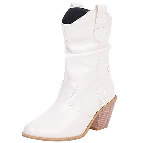 Mediffen Damen Westernabsatz Pointed Toe Klassischer Slouch Cowboy Stiefel Weiß Gr 41 Asiatisch