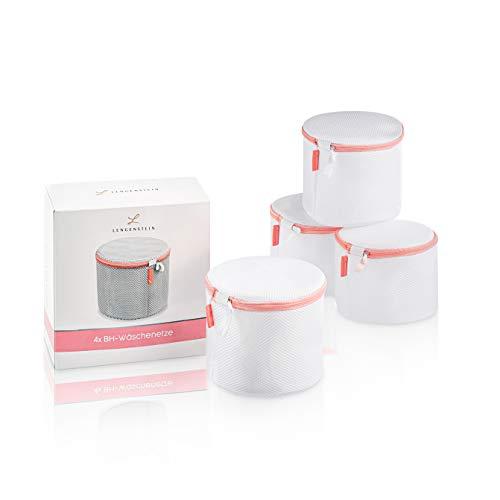 Lengenstein® 4er Set BH Wäschenetze für Waschmaschine Wäschebeutel mit Reißverschluss weich gepolstert mit rosa Naht Wäschesack Waschbeutel für Socken, BH's, Unterwäsche und Dessous