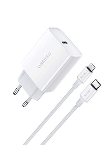 UGREEN Cargador USB C Power Delivery 3.0, Cargador USB Tipo C Carga Rápida QC4.0/ QC 3.0 Compatible con iPhone 12, 12 Pro, SE 2020, 11, 11 Pro, 11 Pro MAX, X, XR, 8, iPad Pro y Redmi 9 Redmi Note 9