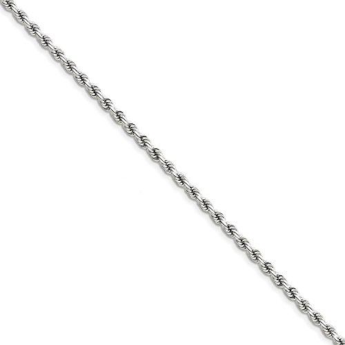 14K bianco oro 3.5mm taglio diamante corda catena