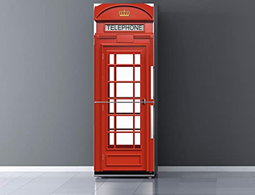 Pegatinas Vinilo para Frigorífico Cabina telefonos Londres | Varias Medidas 200x70cm | Adhesivo Resistente y de Fácil Aplicación | Pegatina Adhesiva Decorativa de Diseño Elegante