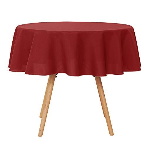 Umi.Essentials Tischdecke Wasserabweisend Tischdecke Lotuseffekt Tischtücher Rund 140 cm Rot