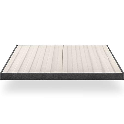 ZINUS Upholstered Metal Box Spring with Wood Slats 4 Inch Mattress Foundation