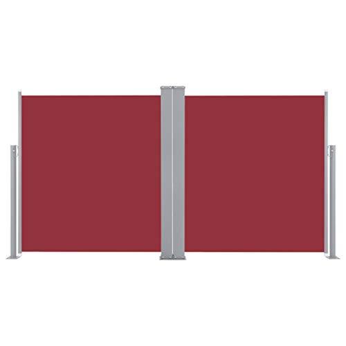 Festnight Ausziehbare Seitenmarkise Standmarkise UV- und Wasserbeständig Seitenrollo Balkon Terrasse und Garten Windschutz und Sichtschutz Terrasse Seitenrollo Doppelseitenmarkise Rot 160 x 600 cm