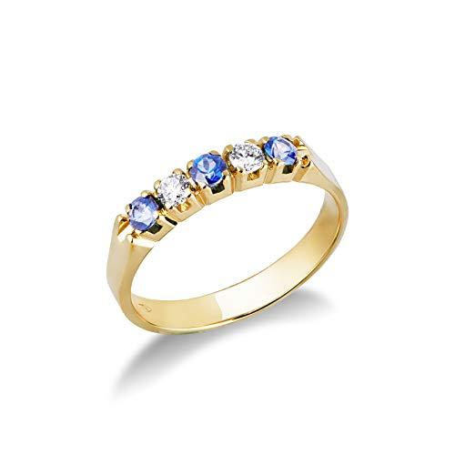 Gioielli di Valenza - Anello Veretta a 5 pietre in Oro Giallo 18k con Diamanti e Zaffiri Blu - FE5RA008GBZ - 11