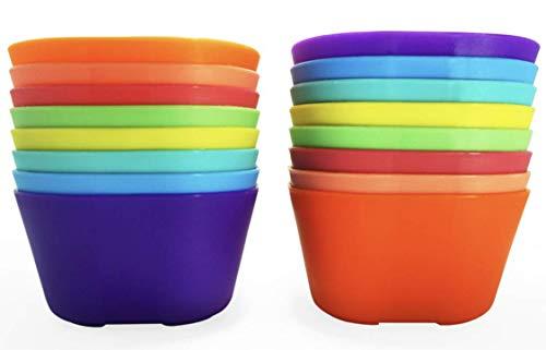 Klickpick Home Set of 16 Pcs 15 Ounce Capacity Kids Snack Bowls Children Cereal Bowl Microwave Dishwasher Safe Kid Bowls Set BPA Free Toddlers Bowl Set - 8 Colors