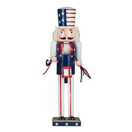Feichanghao Weihnachten Nussknacker - 38cm Hölzerner Nussknacker Soldat Mit Amerikanischer Flagge Figur Anzeige Für Weihnachtsschmuck Home Office Desktop Puppe Puppenspielzeug Geschenk
