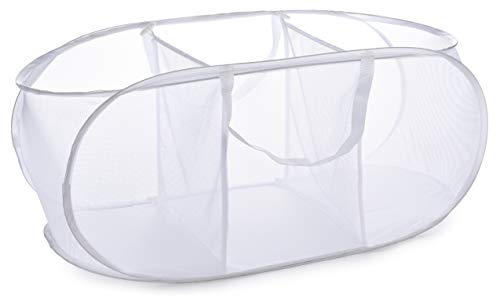 Popup Laundry Basket, Three Compartments - Durable Mesh Material,...