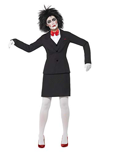 Smiffy's 25918S - Saw Jigsaw Costume Nero Giacca Camicia Gonna Papillon Guanti & Make-Up, S