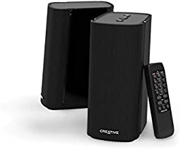 Creative T100-2.0 Compact Hi-Fi Desktop Speakers, up to 80W Peak Power with Bluetooth 5.0, Optical-in, AUX-in, Wide Soundstage and Audio Clarity with Bass Control for Computers and Laptops (Black)