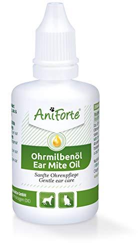 AniForte Ohrmilbenöl für Hunde, Katzen, Nagetiere, Haustiere 50ml - Sanfte Pflege bei Ohrmilben, Ohrentropfen Milben, Hefepilz, Juckreiz im Ohr, Ausfluss
