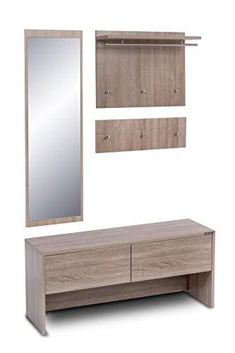 ts-ideen 4 teiliges Garderobenset Wandgarderobe Flurgarderobe mit Spiegel und Sitzbank Kommode in Sonoma Eiche