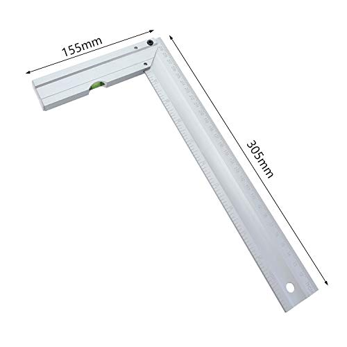 Yiwa vierkante liniaal, 300 mm, aluminiumlegering, 90 graden, met metrisch waterpas/voetgereedschap, houten werken