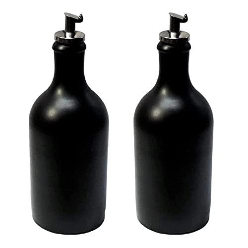 2 x Ölflasche 500 ml Ölspender Steingut schwarz mit Ausgießer Made in Germany