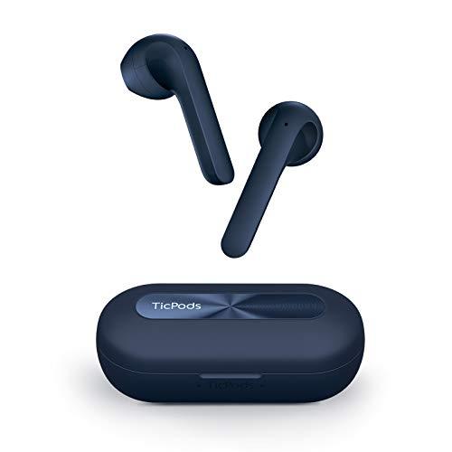 TicPods 2 Pro Plus True Wireless Earbuds, Conexión Independiente, Bluetooth 5.0 con micrófono Dual, Diseño Semi-en la Oreja, Asistente de Voz, Gesto con la Cabeza, Controles táctiles, IPX4, Azul